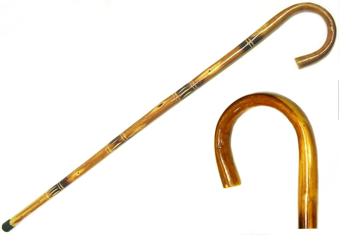 Hooked walking cane