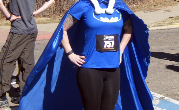 Mrs Barrow in a super hero pose